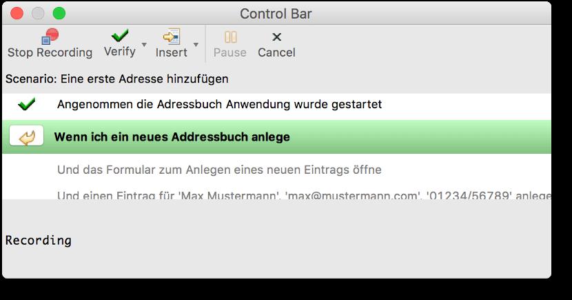 Controlbar der Squish IDE beim Aufzeichnen eines BDD Tests