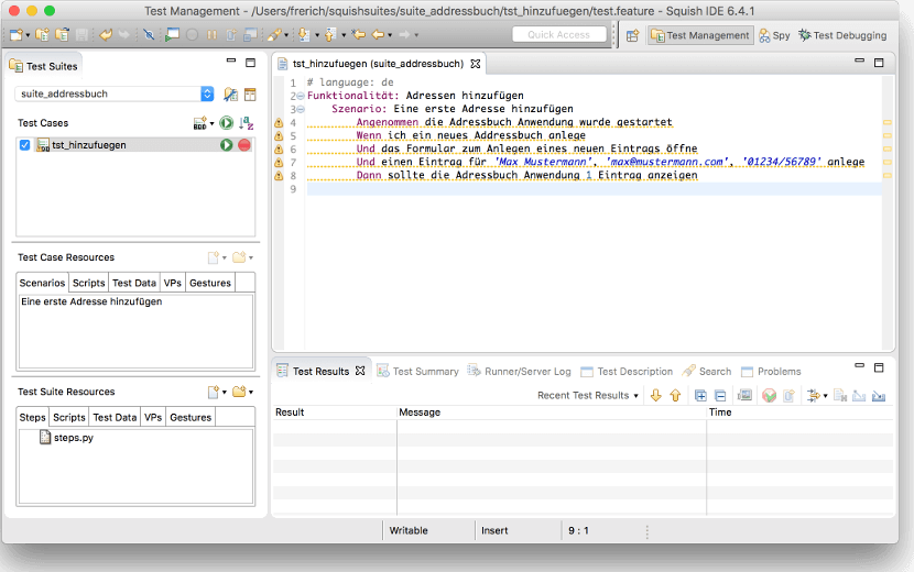 Squish IDE mit integriertem Gherkin Editor für Behavior-Driven-Development