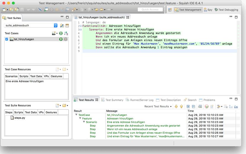 Behavior-Driven-Development Beispiel: Squish IDE zeigt Testresultate direkt im Gherkin Editor an