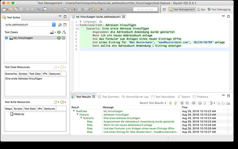 Behavior-Driven-Development Beispiel: Squish IDE zeigt Testresultate direkt im Gherkin Editor an