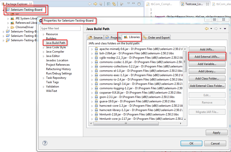 Tutorial_SE_1.040.Selenium_JARs_in_Eclipse_Java_Libraries_Properties
