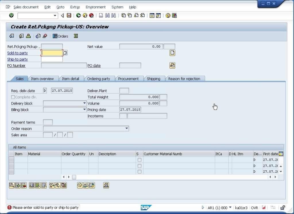 Auswahl des Bereichs für SAP Testautomatisierung